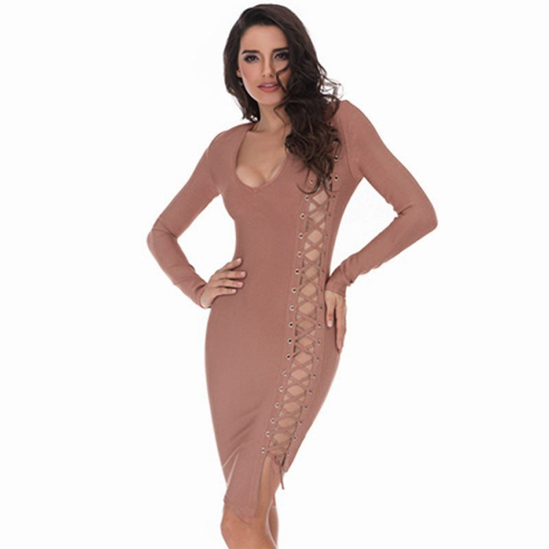V Neck Longsleeves Mini Cut Out High Quality Fashion Bandage Dress HB835-Dark Pink