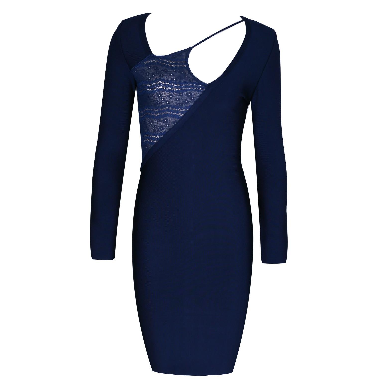 Blue Round Neck Long Sleeve Above Knee Lace Decorated Sexy Bandage Dress HI920-Blue