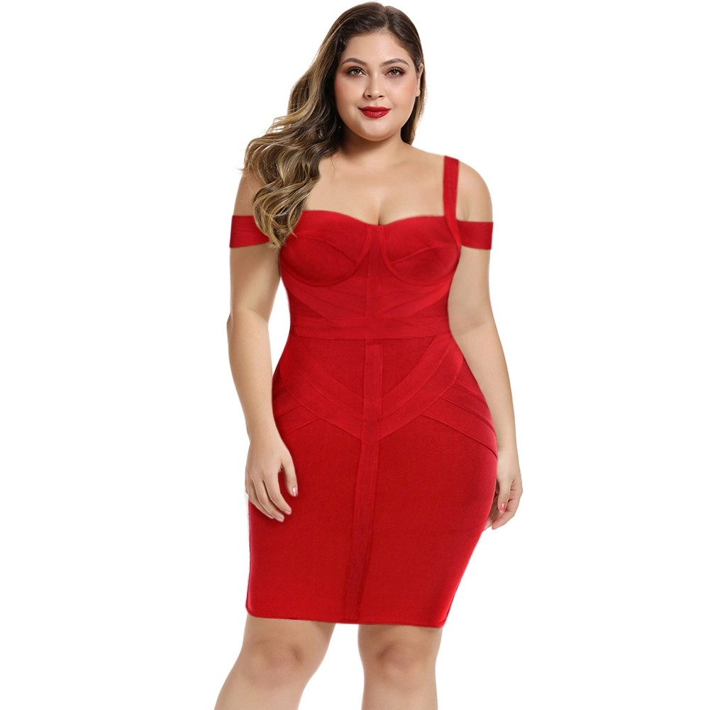 Red Striped Over Knee Short Sleeve Strapy Bandage Dress DPF19168-Red