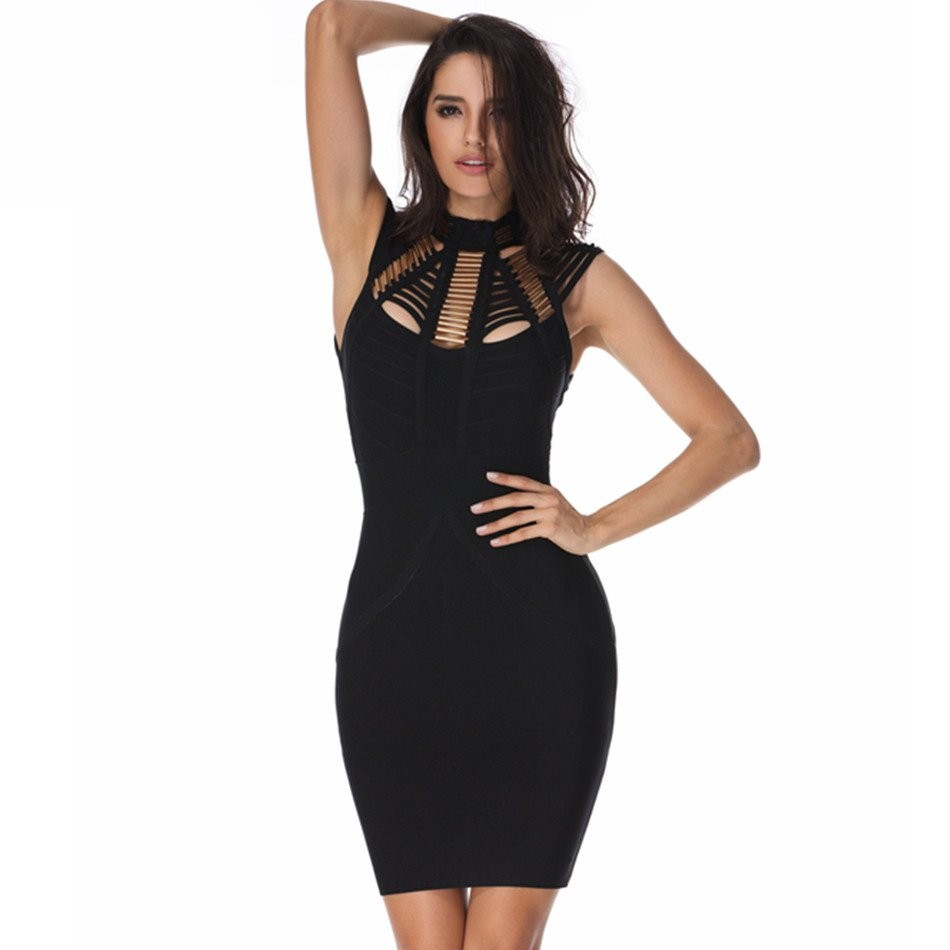 1:1 HL Quality - Black Round Neck Sleeveless Mini Metal Cut Out High Quality Bandage Dress H1218-Black