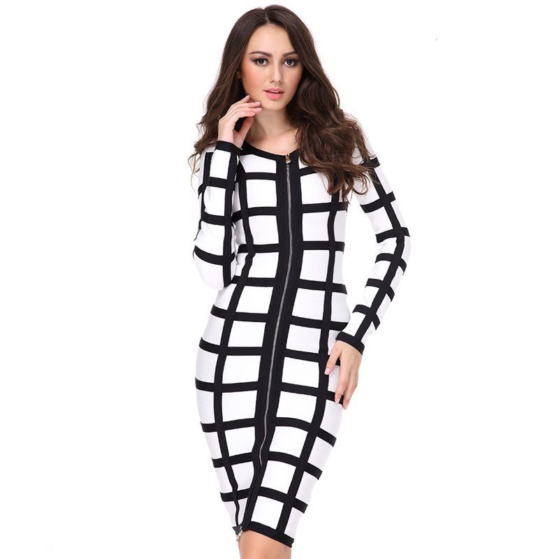 Round Neck Longsleeves Over Knee Printing Amazing Black And White High Quality Bandage Dress HB600-BLACK AND WHITE