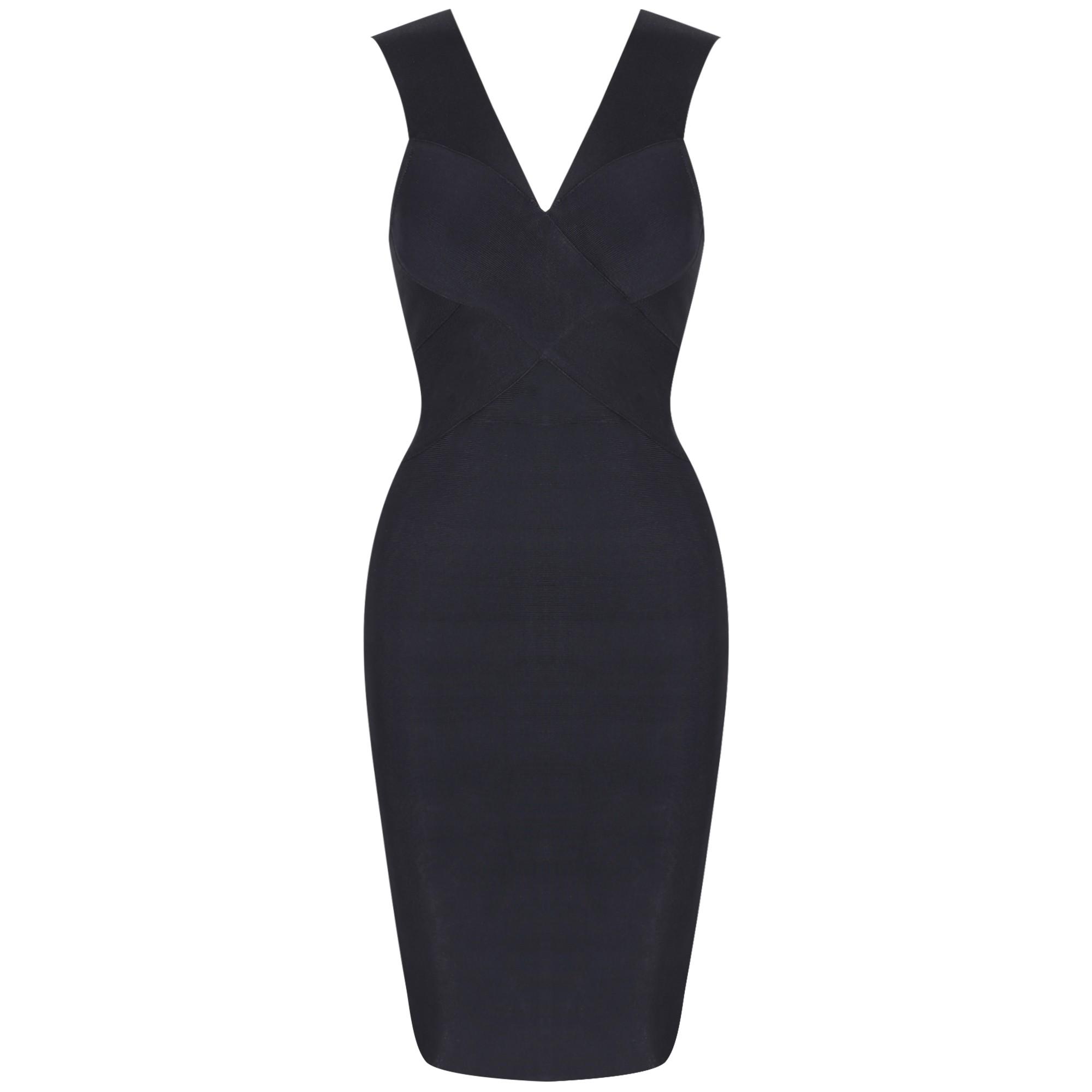 Black V Neck Sleeveless Mini Simple Fashion Bandage Dress HK036-Black