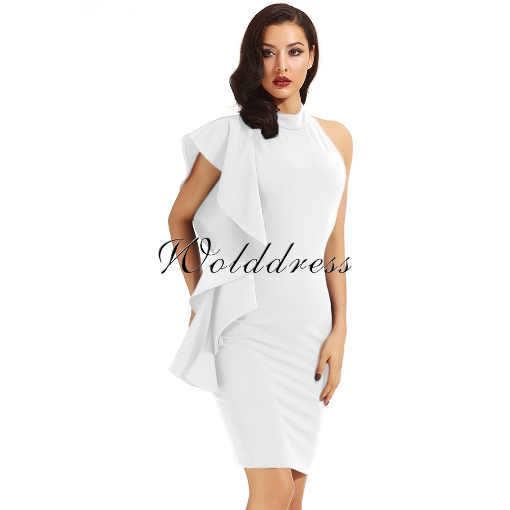 White Halter Sleeveless Knee Length Ruffles Elegant Bodycon Dress HD398-White