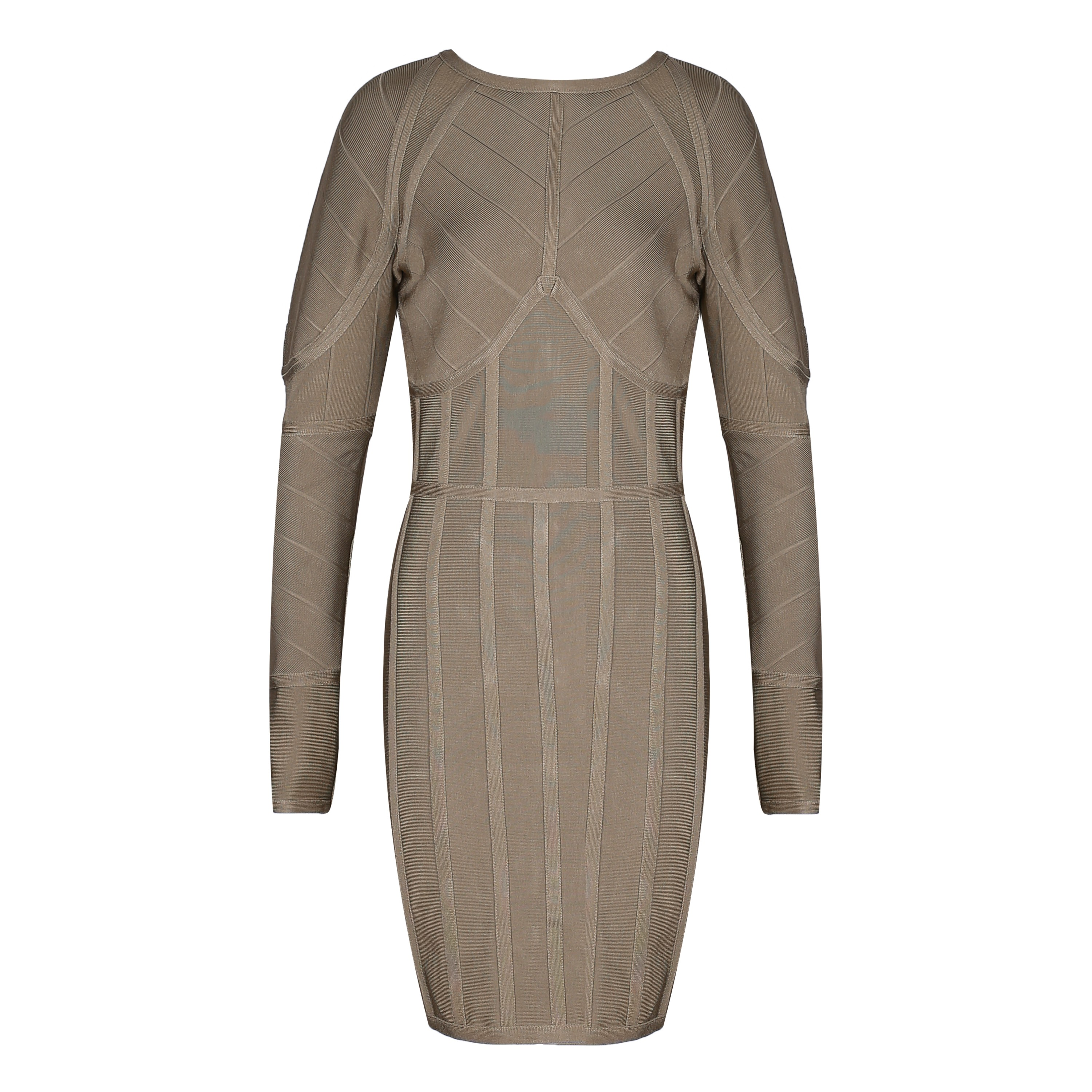 Light Brown Round Neck Long Sleeve Mini Weave High Quality Bandage Dress HI909-Light Brown