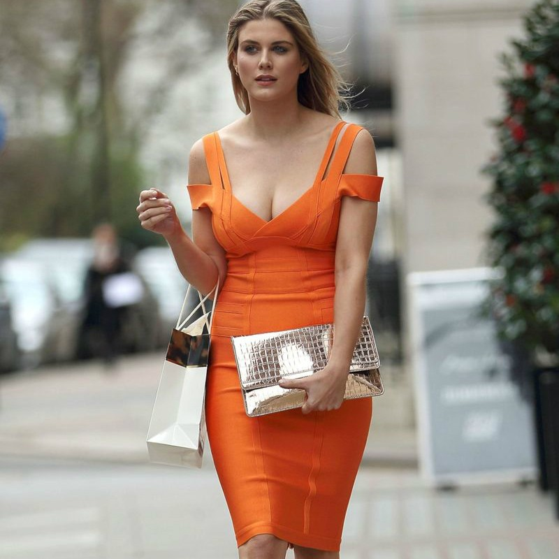 Party Strapy Cap Sleeve Mini Orange Bandage Dress HK003-Orange