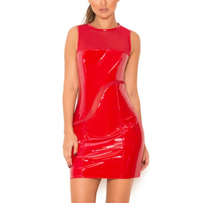 Round Neck Sleeveless Mesh Leater Red New Bandage Dress HD391-Red