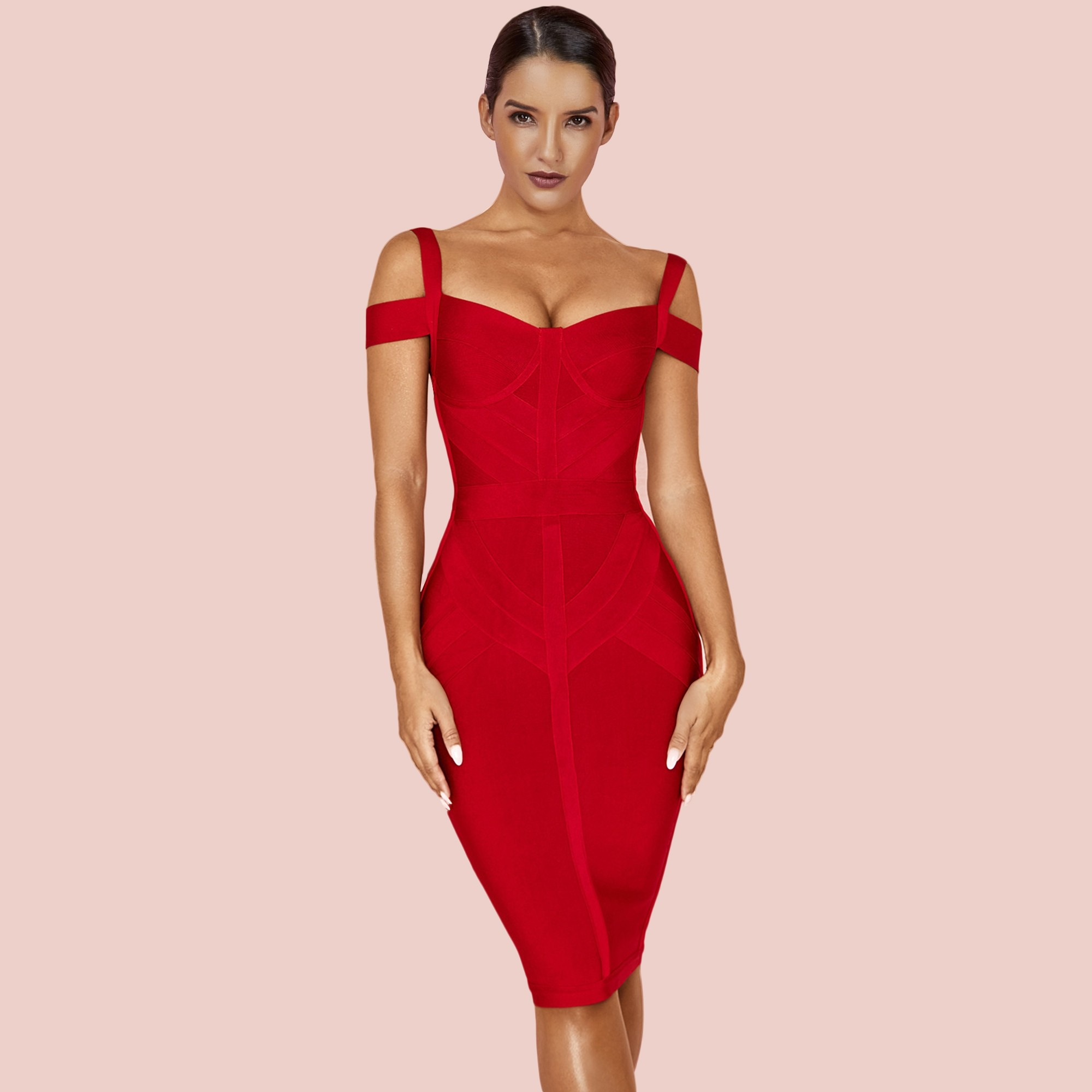 Wine Red Striped Over Knee Short Sleeve Strapy Bandage Dress PF19168-Wine-Red