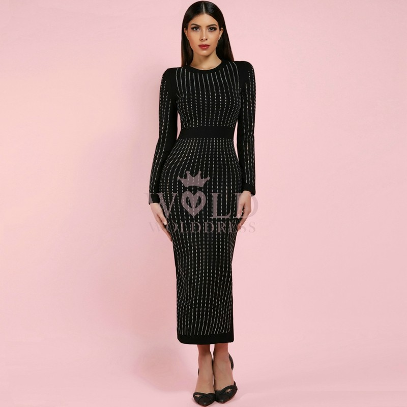 Meshed Round Neck Longsleeve Over Knee Black Whole Beaded Transparent Bodycon Dress