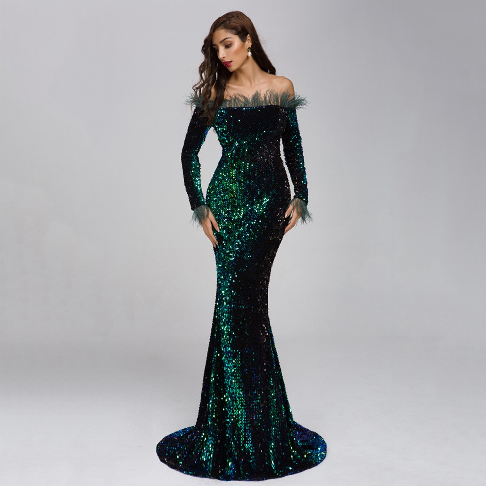 Green Feather Sequins Maxi Long Sleeve One Shoulder Prom Dress FT19005-Green