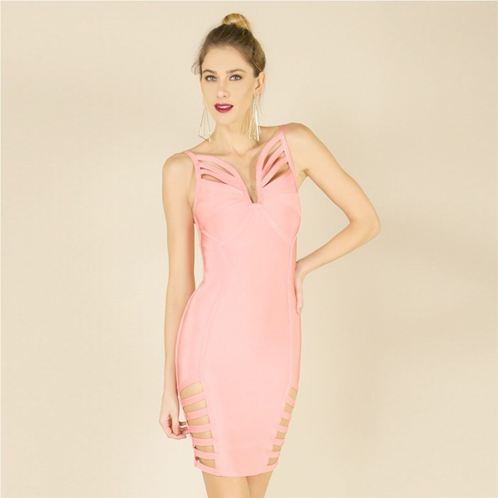 Rayon - Pink Strapy Sleeveless Mini Side Cut Out Crossed Oem Bandage Dress H0002-Pink