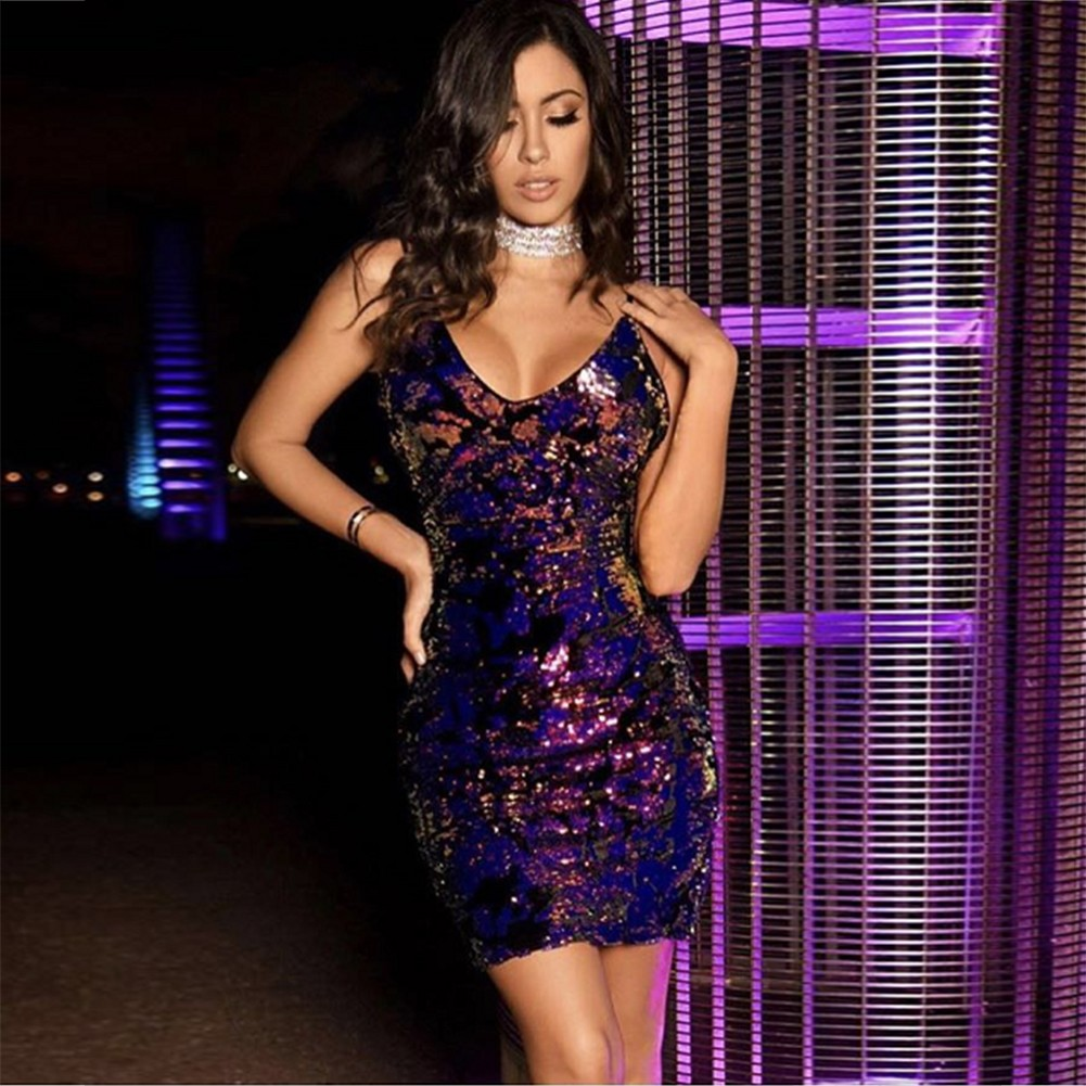 Rayon - Purple V Neck Sleeveless Mini Strapy Back Vent Sexy Bodycon Dress H0078-Purple