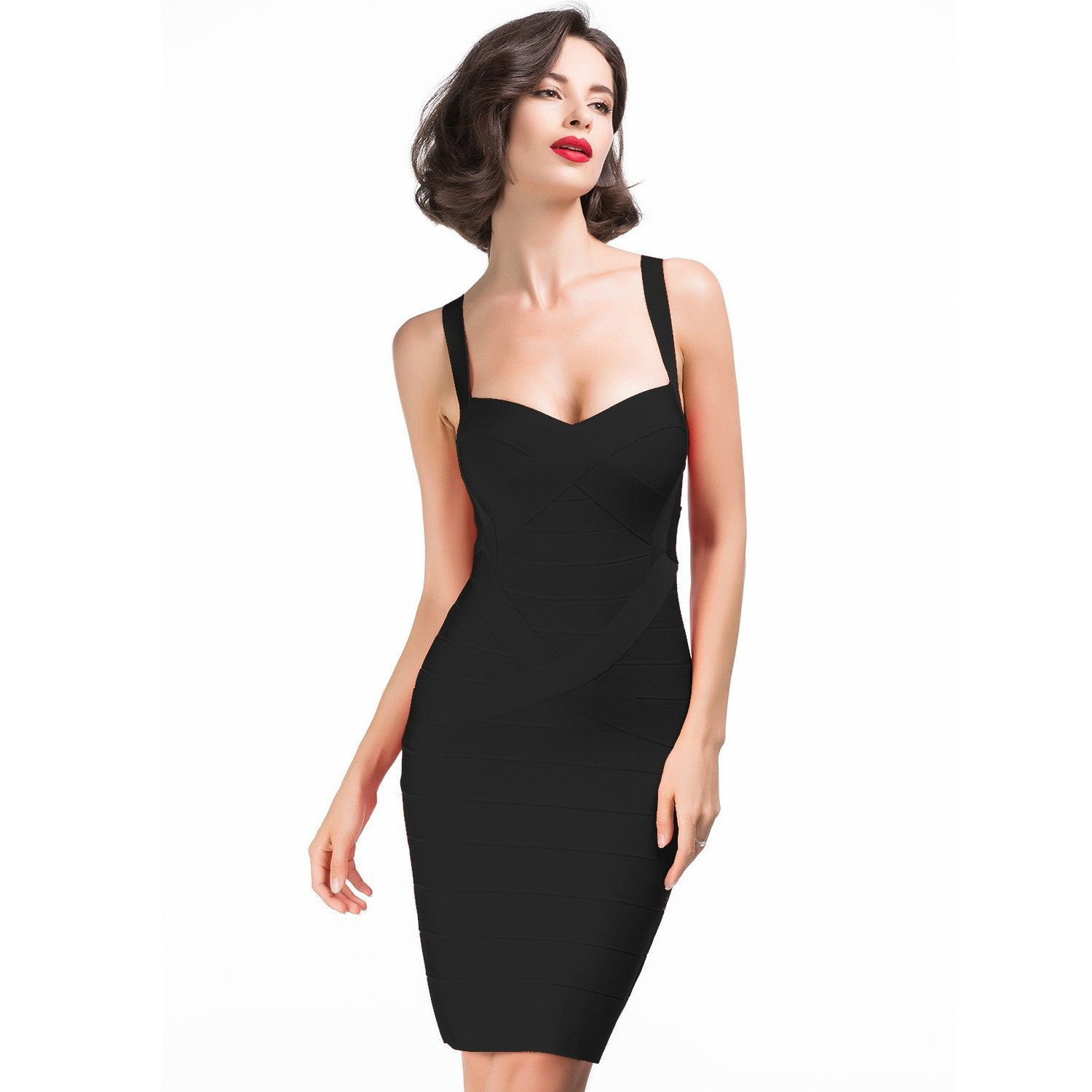 Strapy Sleeveless Mini black Fashion Bandage Dress H437-black