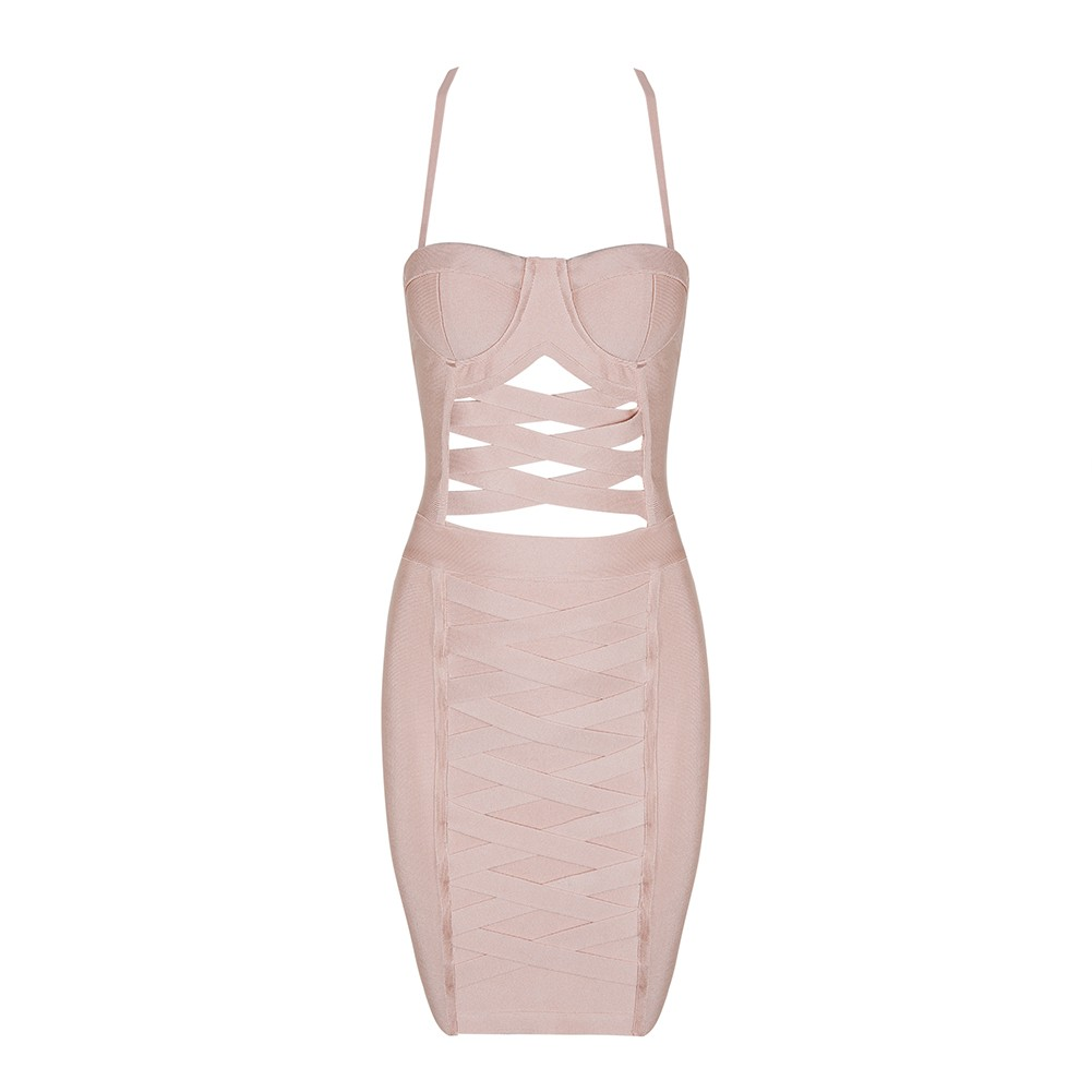 Nude Strapy Sleeveless Mini Cut Out Lace Up High Quality Bandage Dress HB1073-Nude