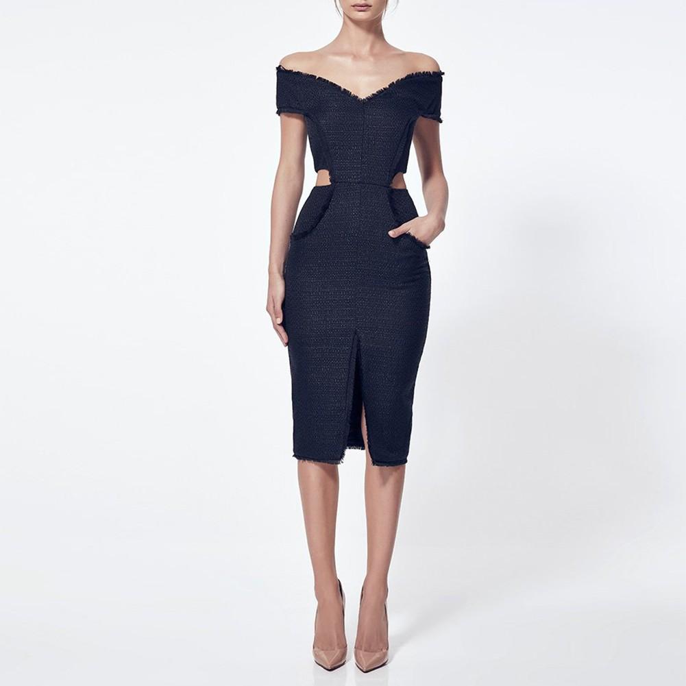 Black Off Shoulder Sleeveless Knee Length Cut Out Fashion Bandage Dress HB4337-Black