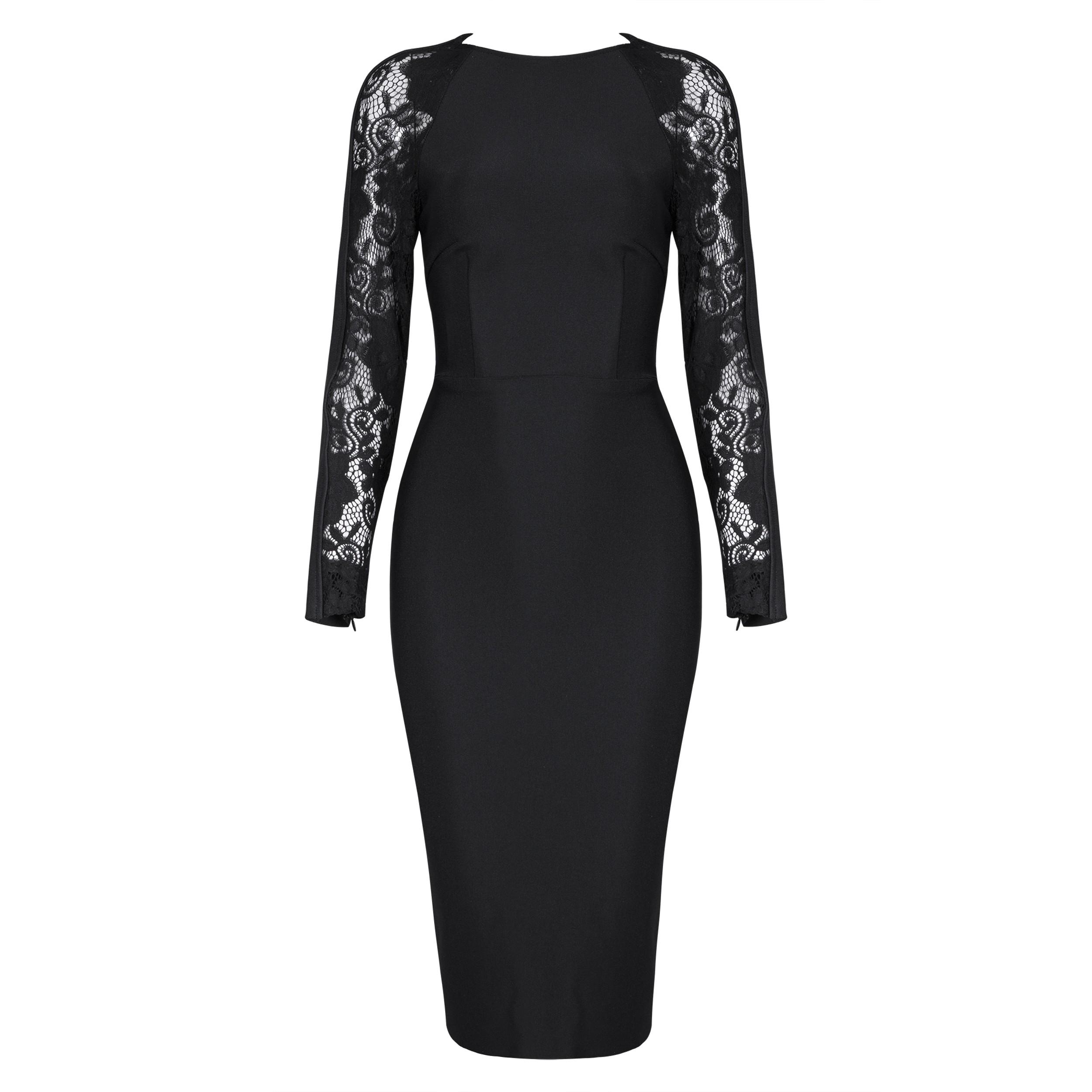 Black Round Neck 3/4 Sleeve Over Knee Lace Up High Quality Bandage Dress HB4438-Black