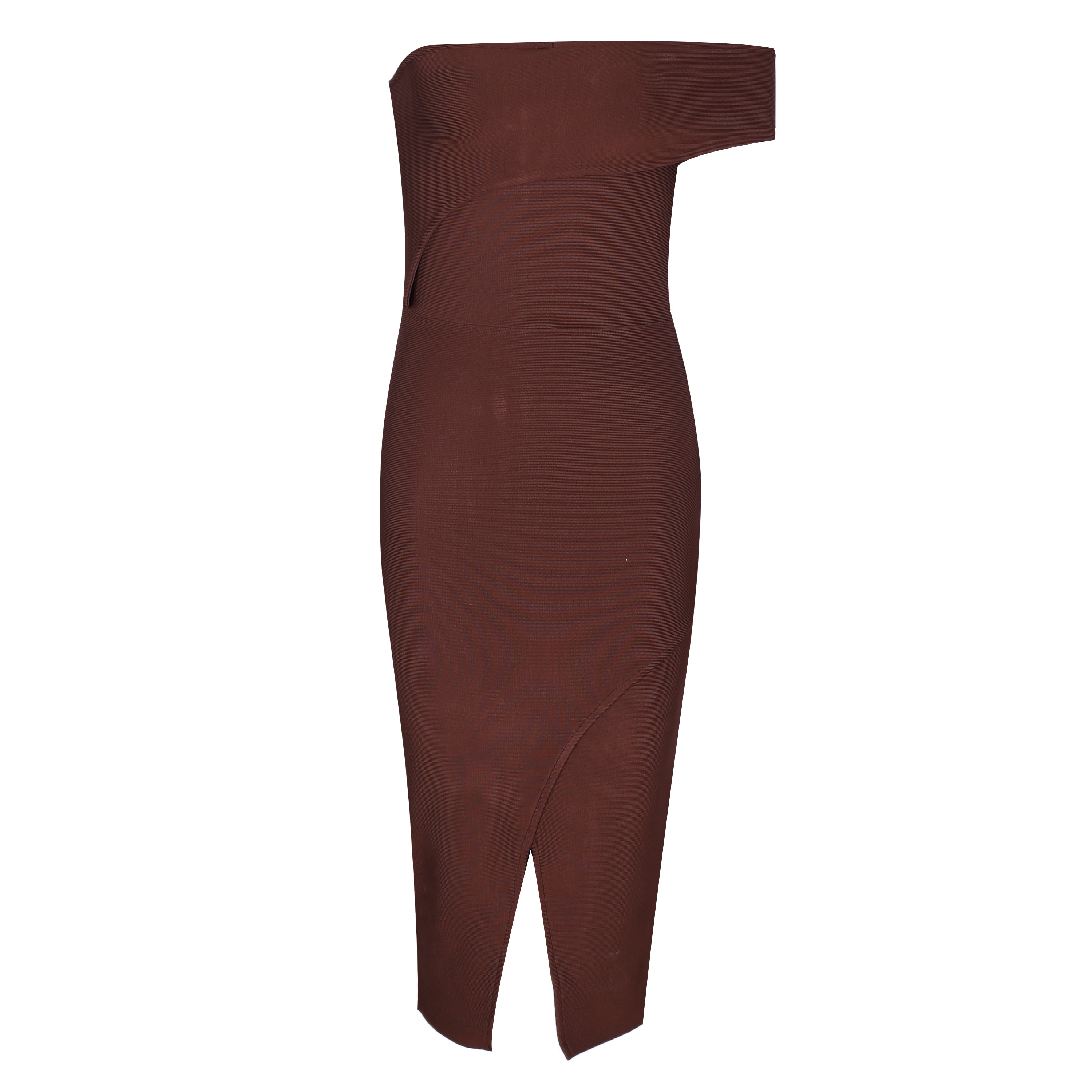 Brown Off Shoulder Sleeveless Over Knee Cutout Evening Bandage Dress HB449-Brown