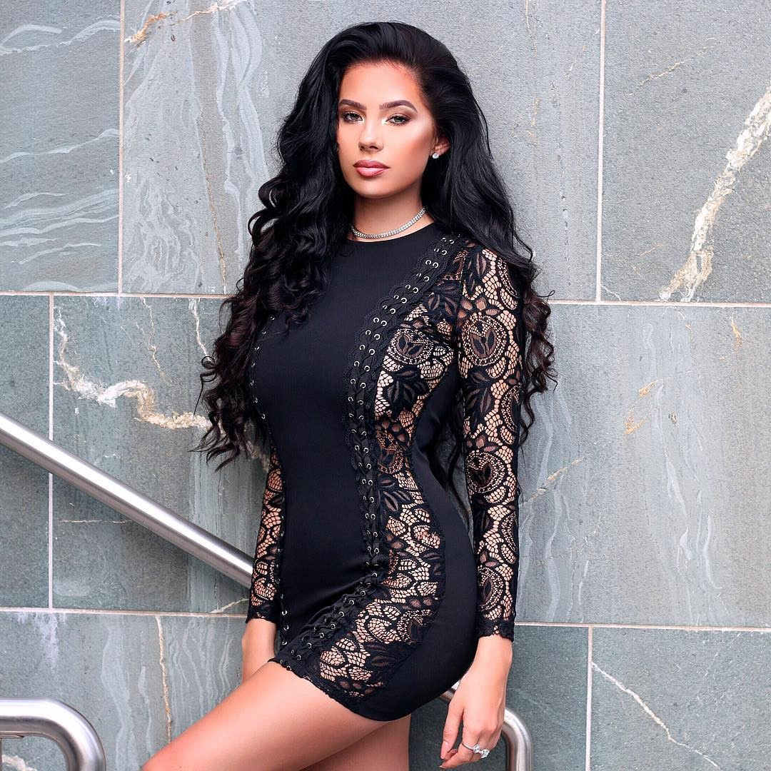 Black Round Neck Long Sleeve Mini Lace Fashion Bandage Dress HB5216-Black