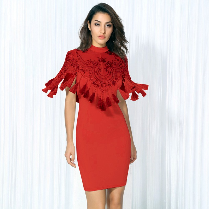 Red Round Neck Cap Sleeve Mini Tassels Party Bandage Dress HB5309-Red