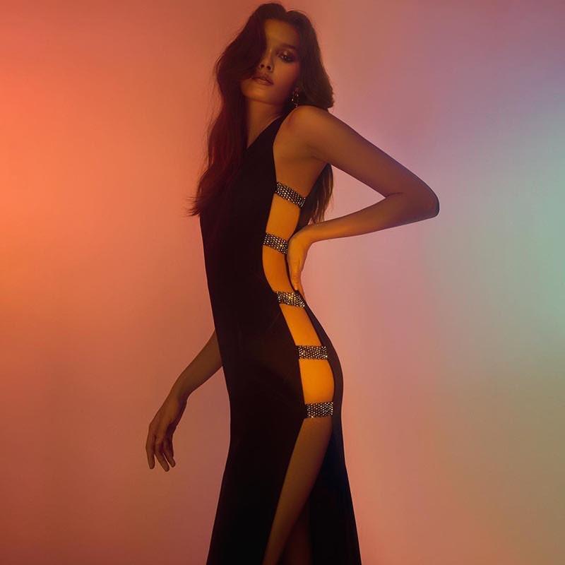 Black Round Neck Sleeveless Maxi Slitted Side Cut Out Amazing Bandage Dress HB5330-Black