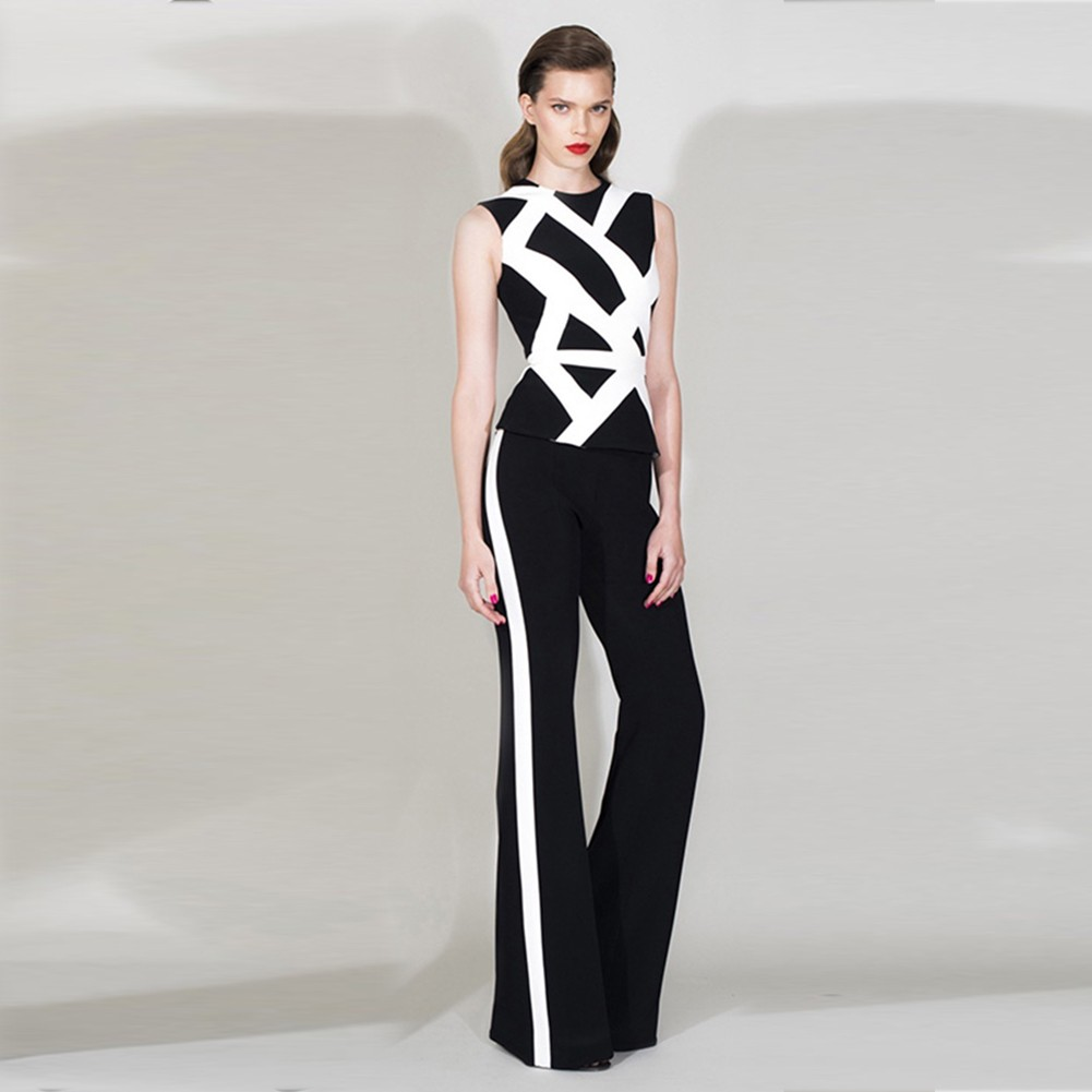 Black Round Neck Sleeveless 2 Piece Stripe High Quality Bandage Suit HB5344-Black