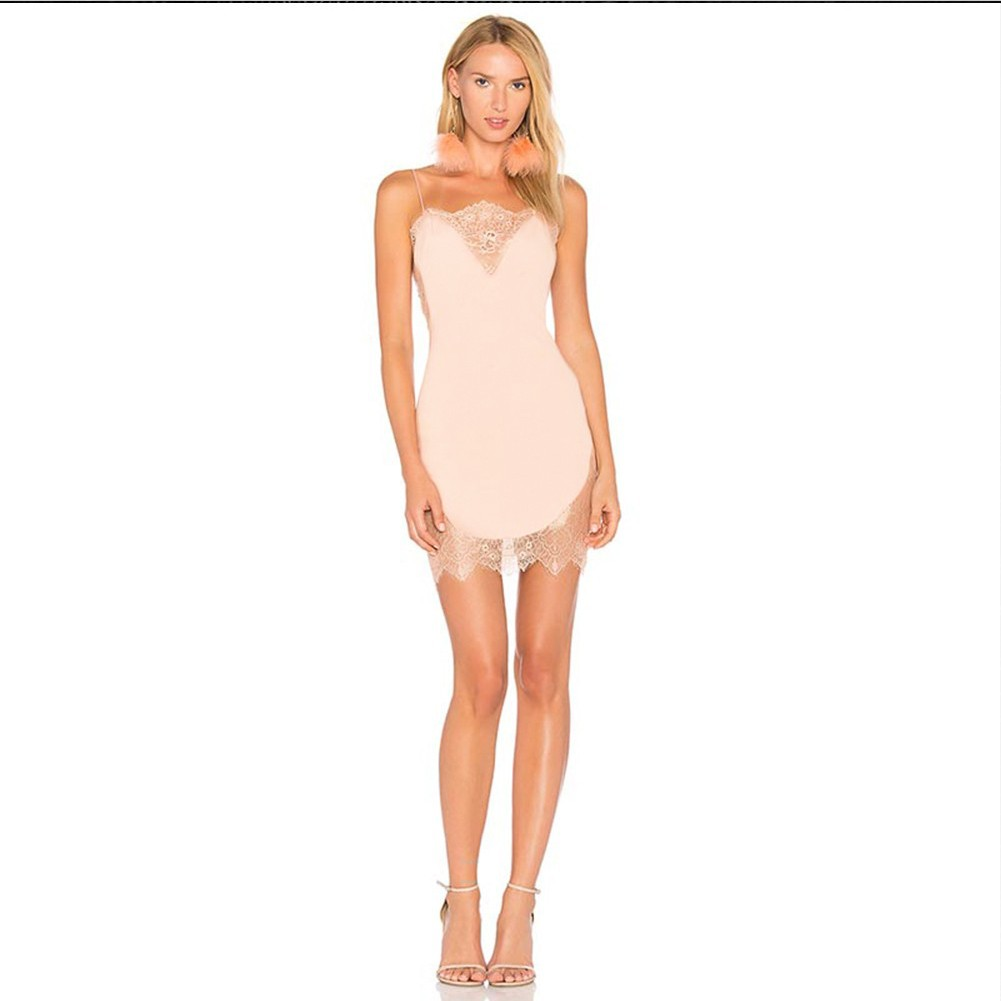 Nude Strapy Sleeveless Mini Lace Patched Evening Bandage Dress HB5396-Nude