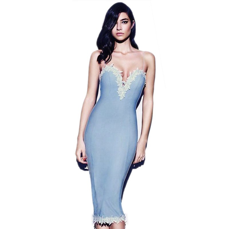 Strapy Sleeveless Over Knee Lace Light Blue Pretty Bandage Dress HB669-Light Blue