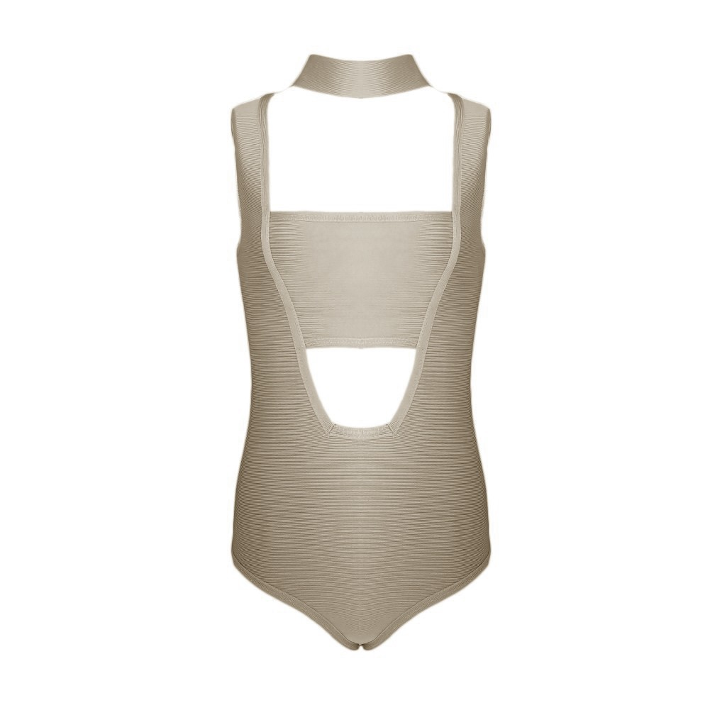 Nude Halter Sleeveless One Piece Cut Out Backless High Quality Bandage Swimwears HB703-Nude