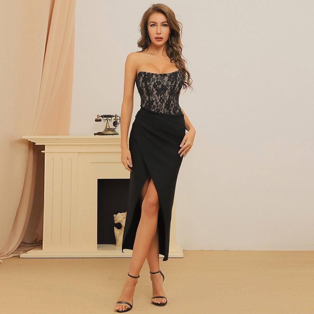 Black Striped Lace Over Knee Sleeveless Strapless Bandage Dress HB7382-Black