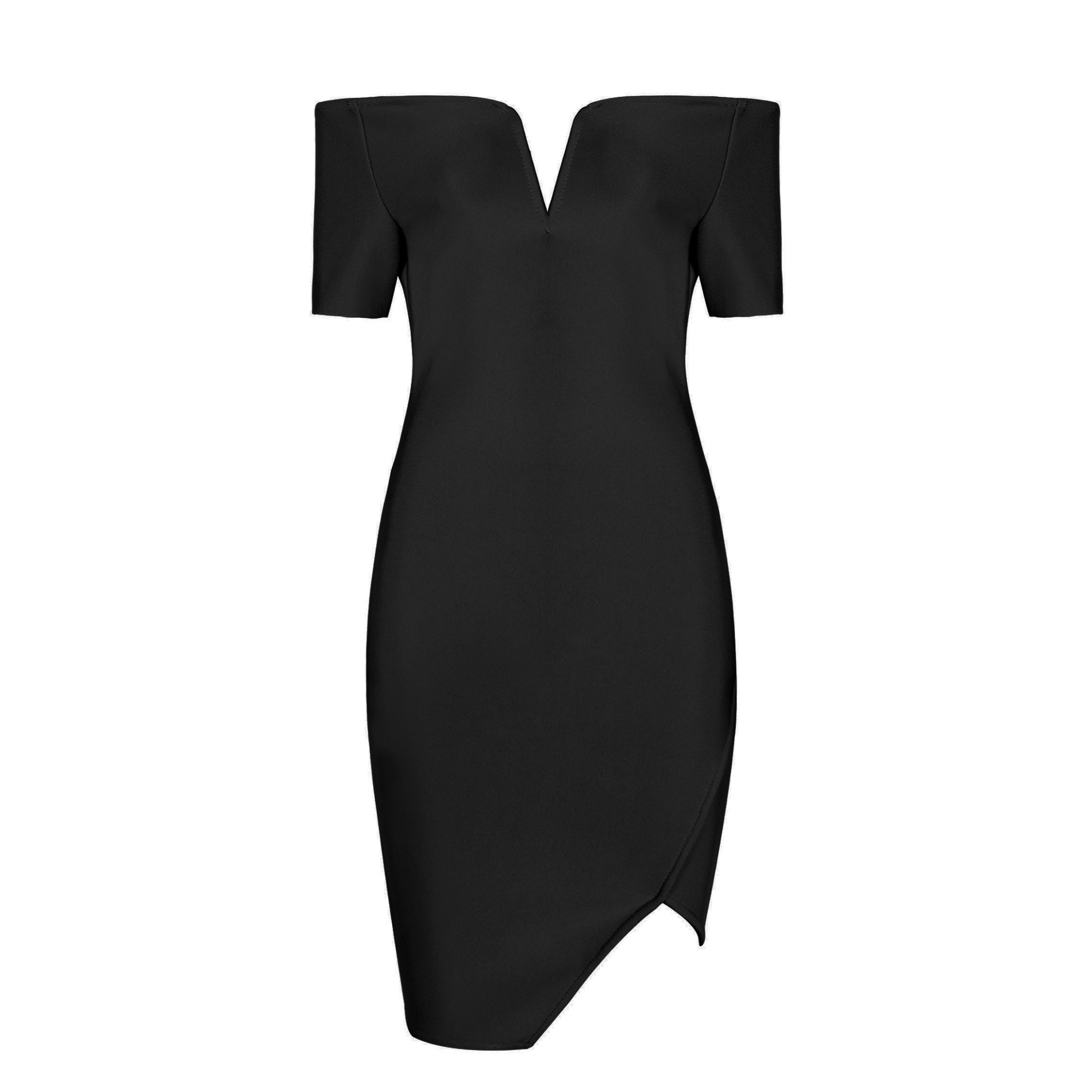 Black Off Shoulder Cap Sleeve Mini Side Slitted Oem Bandage Dress HB994-Black