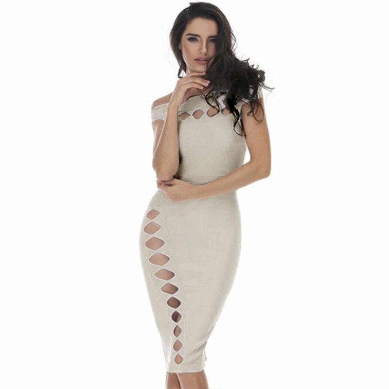 Fashion Off Shoulder Sleeveless Mini Nude Cutout Bandage Dress HD387-Nude