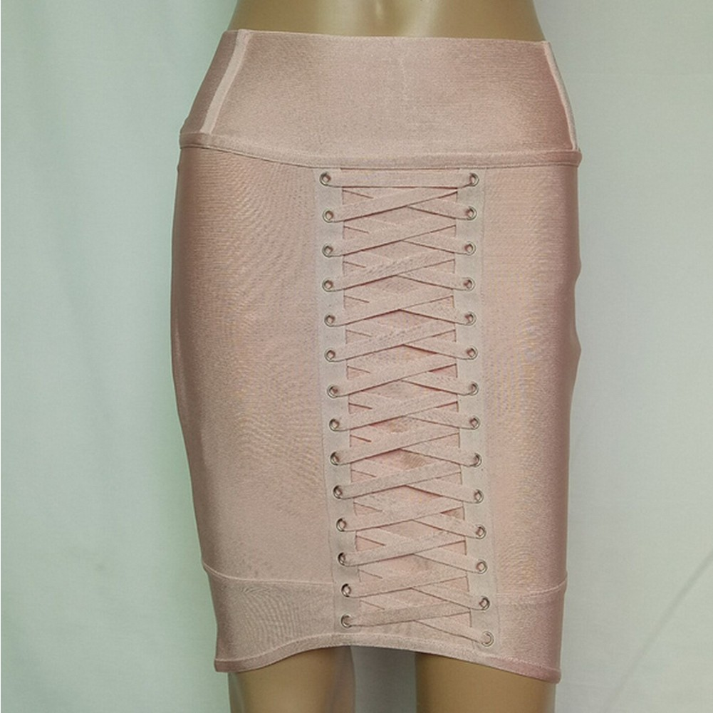 Nude Mini Lace Up Party Bandage Skirt HF113-Nude
