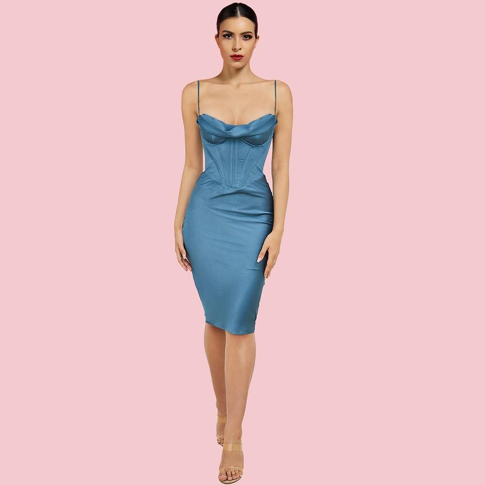 Light Blue Backless Striped Midi Sleeveless Strappy Bodycon Dress HI1216-Light-Blue