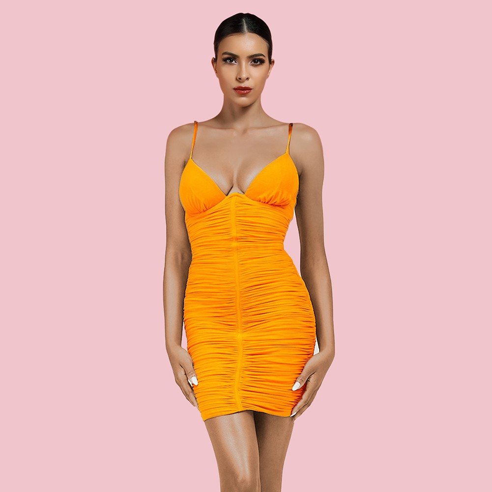 Orange Backless Wrinkled Mini Sleeveless Strappy Bodycon Dress HI1237-Orange