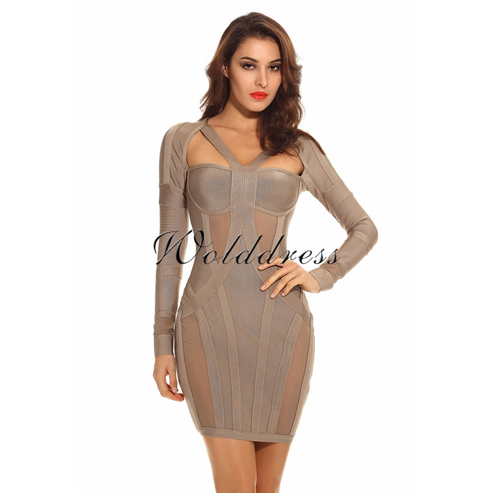 Brown Round Neck Long Sleeve Mini Cut Out Fashion Bandage Dress HI856-Brown