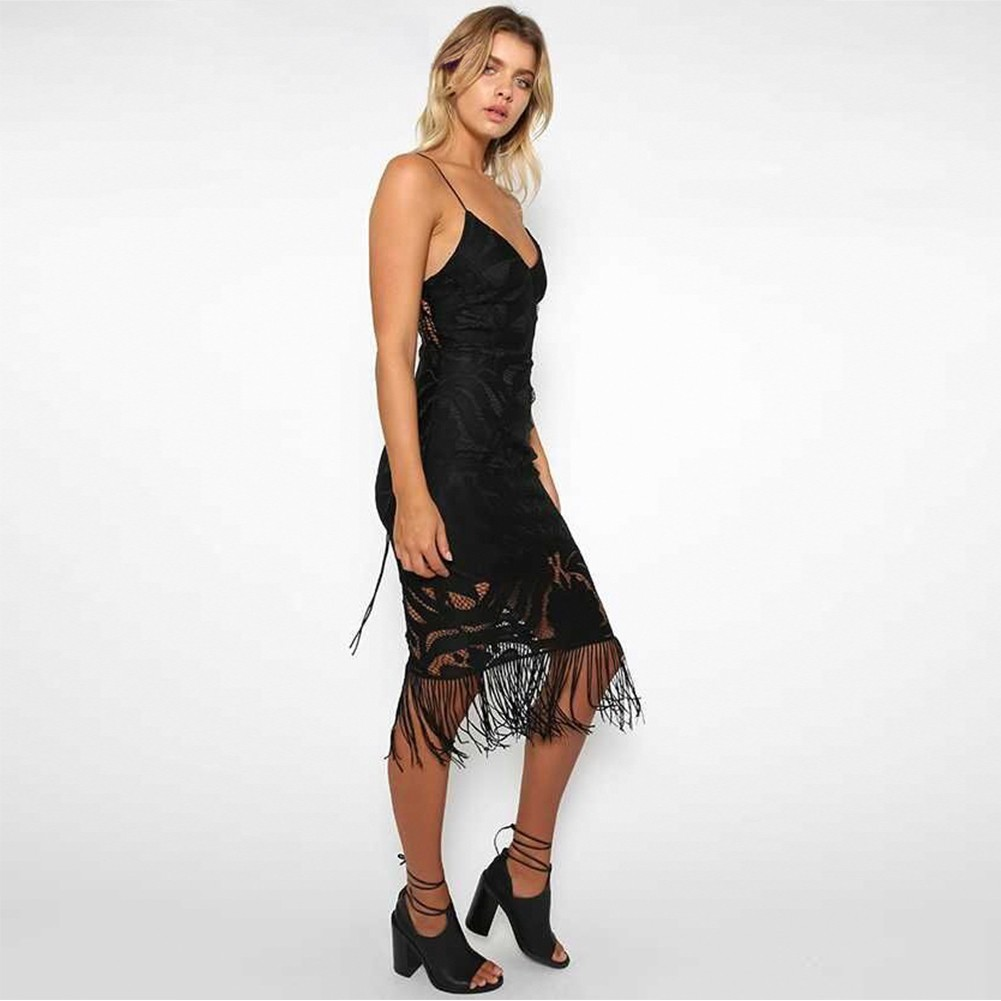 Rayon - Black Strapy Sleeveless Over Knee Lace Tassels Party Bandage Dress HJ080139-Black