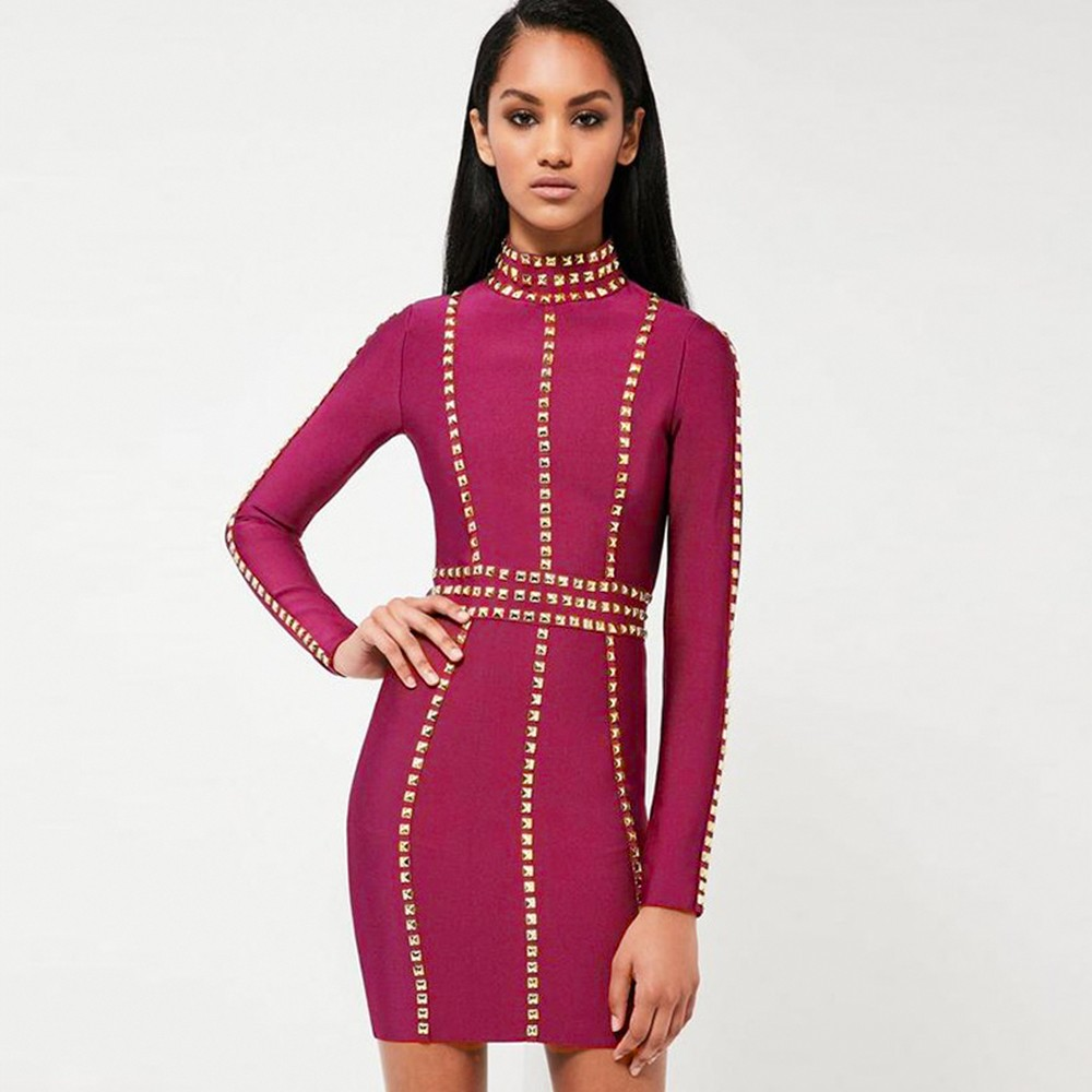 Rayon - Purple Round Neck Longsleeve Mini Metal Studded Fashion Bandage Dress HJ381-Purple