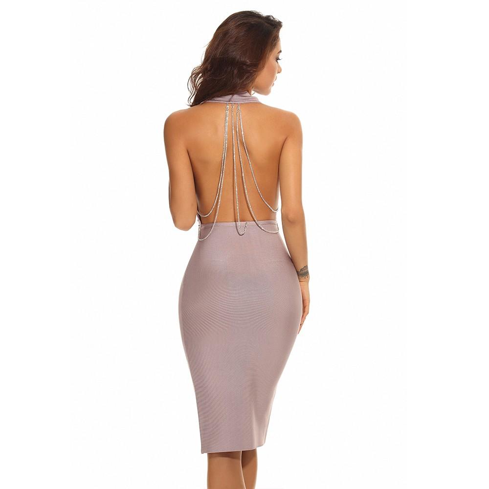 Sexy Nude Halter Open Back Chain Deep V Neck Midi Bandage Dress PPHJ392-Nude
