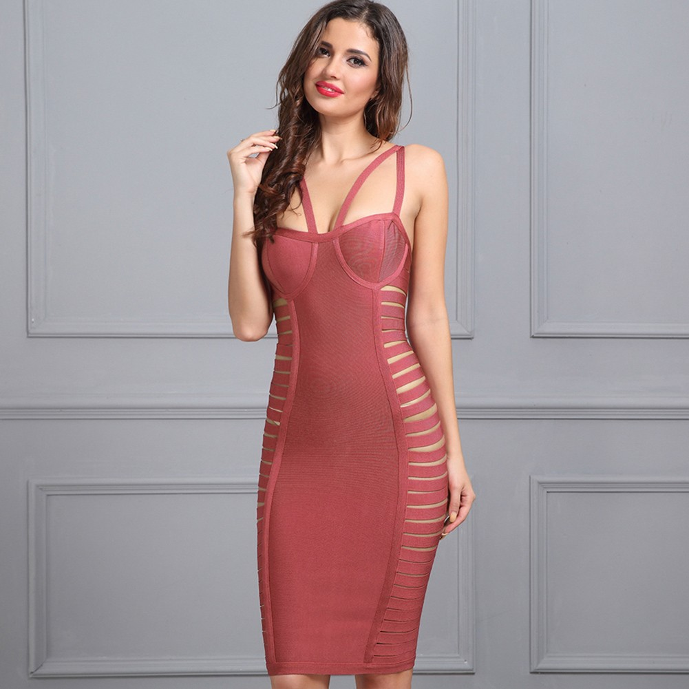 Rayon - Burgundy Strapy Sleeveless Mini Side Cut Out Sexy Bandage Dress HJ399-Burgundy