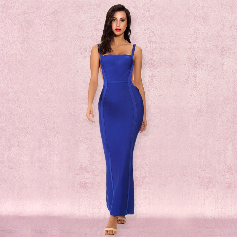 Rayon - Blue Strapy Sleeveless Maxi Backless Elegant Bandage Dress HJ445-Blue