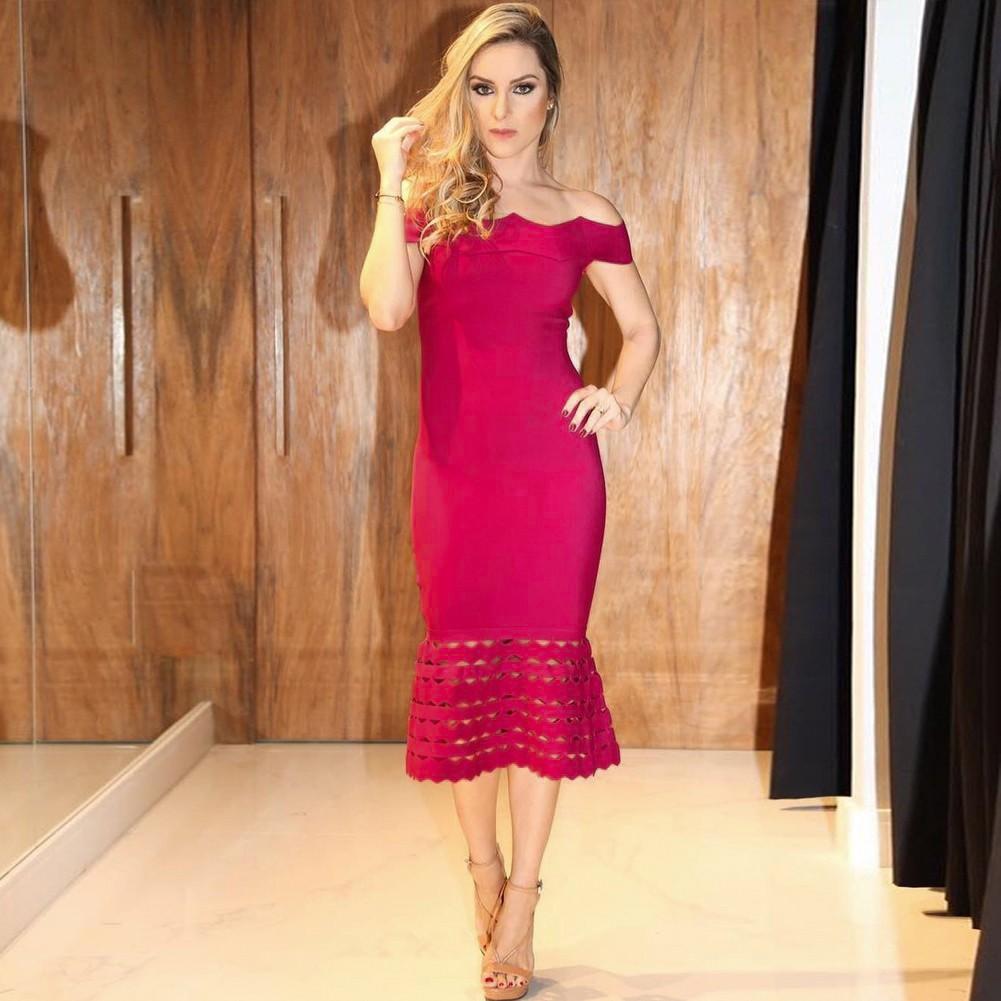 Rayon - Rose Off Shoulder Cap Sleeve Over Knee Fashion Bandage Dress HJ476-Rose