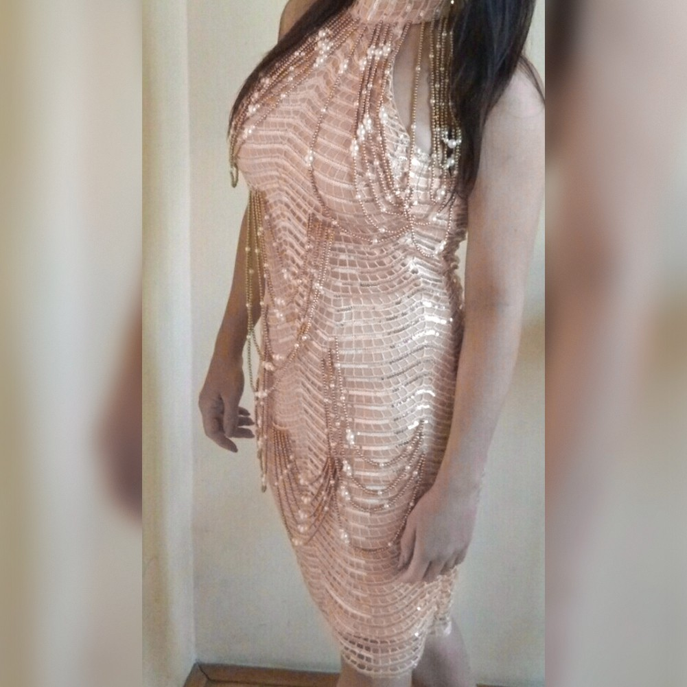 Rayon - Gold Round Neck Sleeveless Mini Beaded Sequins Fashion Bodycon Dress HJ503-Gold