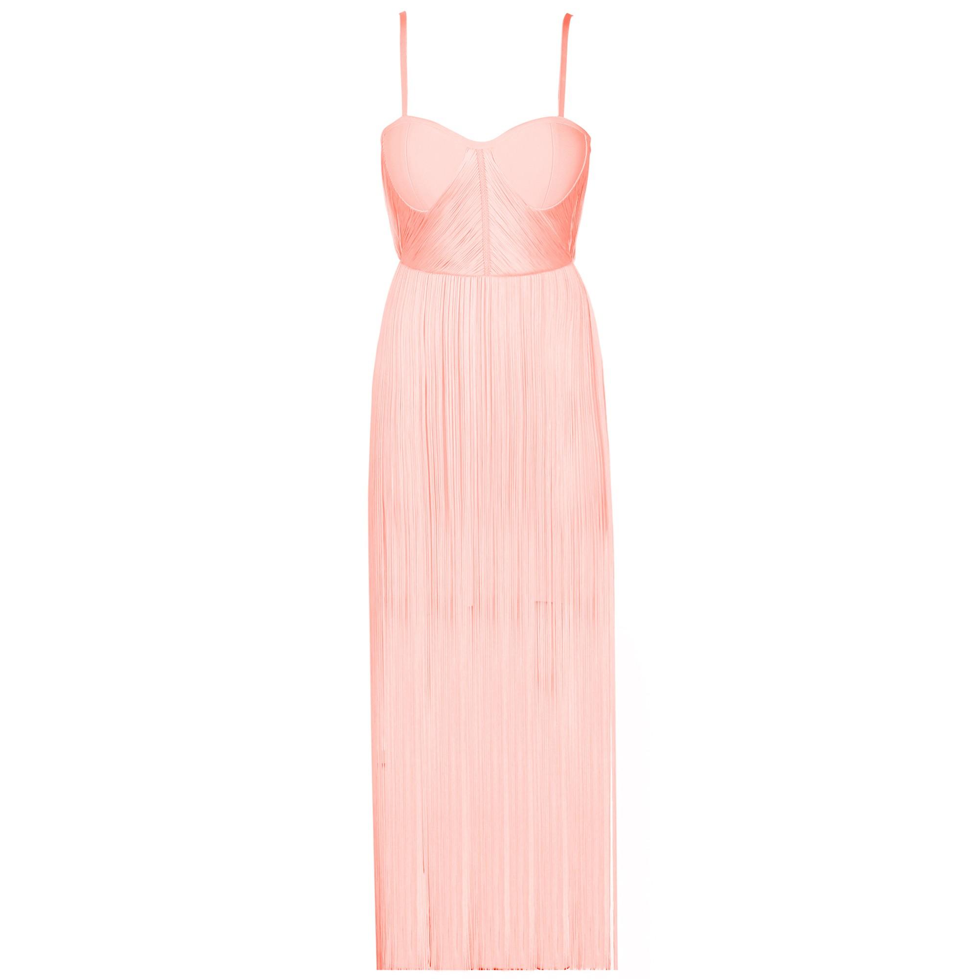 Rayon - Pink Strapy Sleeveless Maxi Tassel Evening Bandage Dress HJ518-Pink
