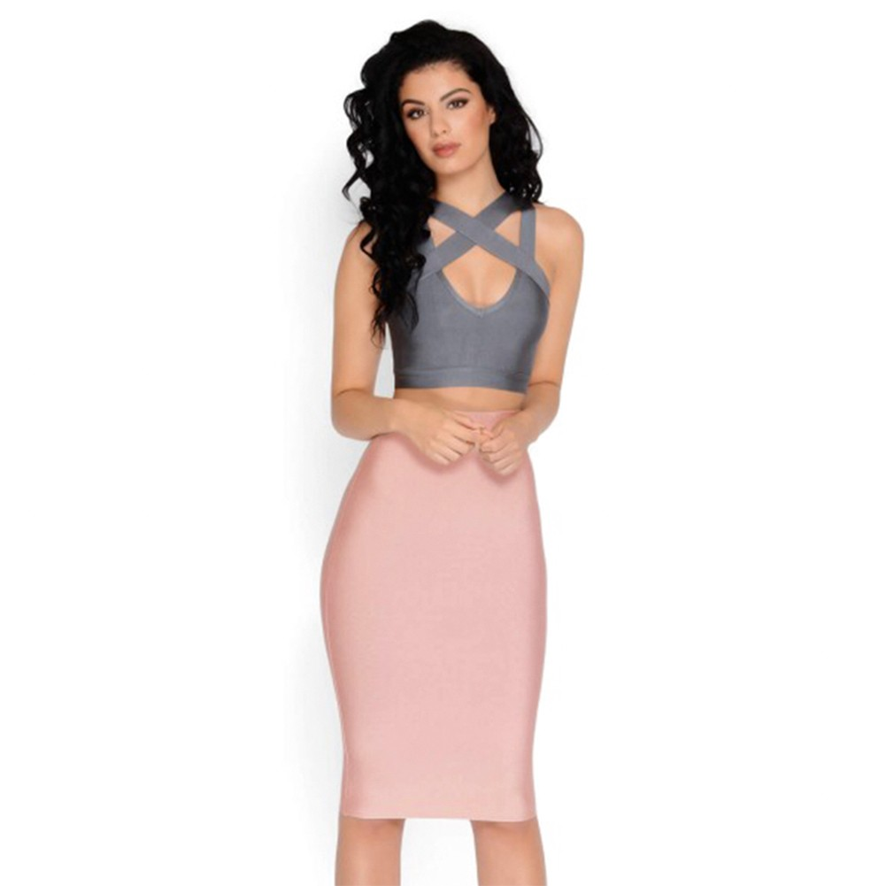 Pink Mini Party Bandage Skirt HK008-Pink