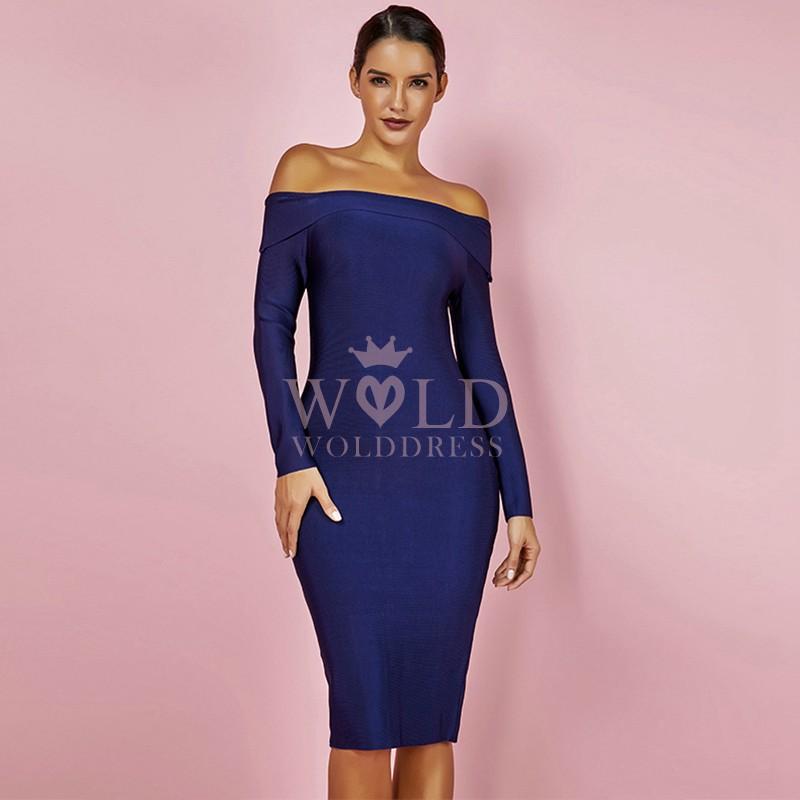 Blue Off Shoulder Long Sleeve Over Knee Popular Bandage Dress HK024-Blue