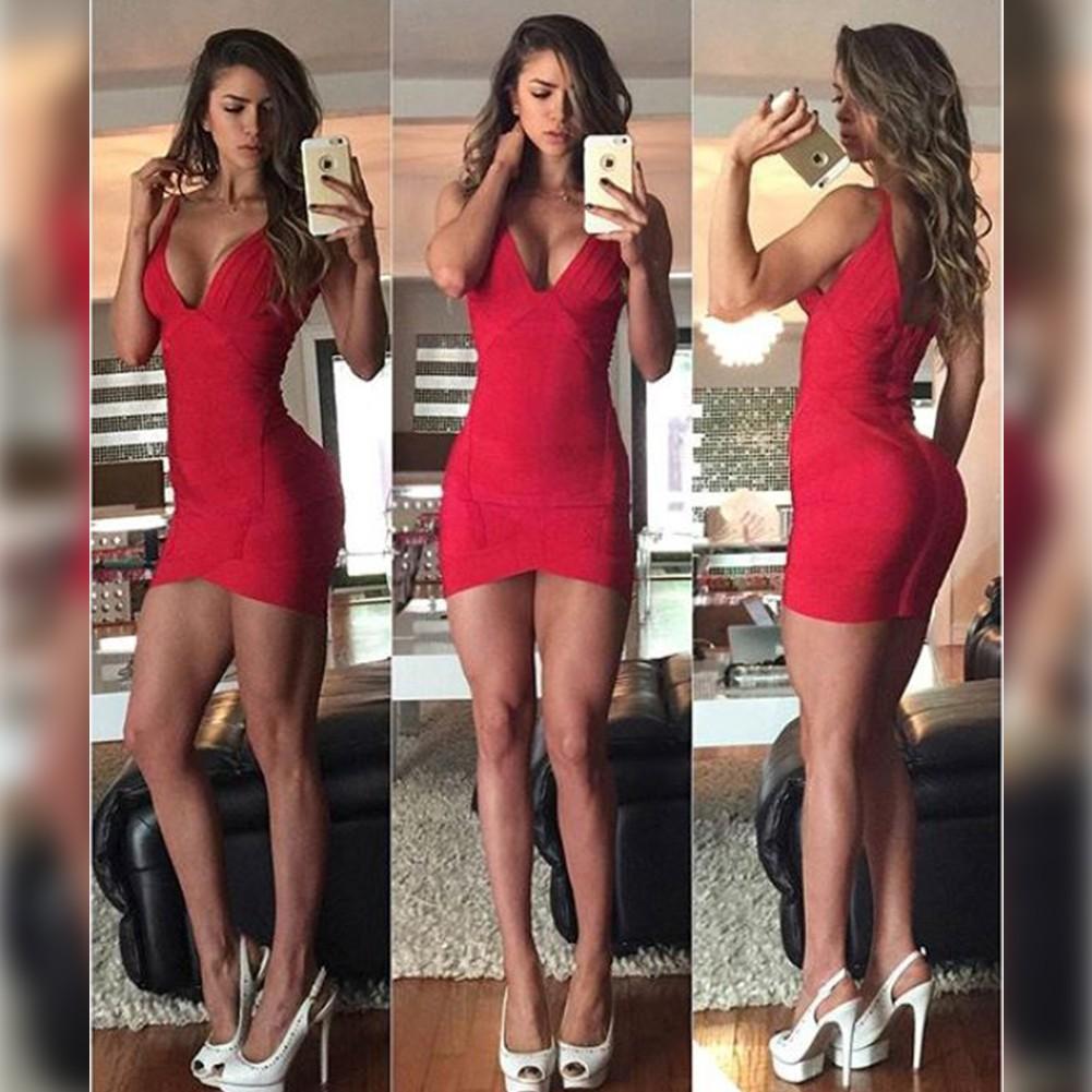 Red V Neck Mini Sleeveless Sexy Bandage Dress HL047-Red