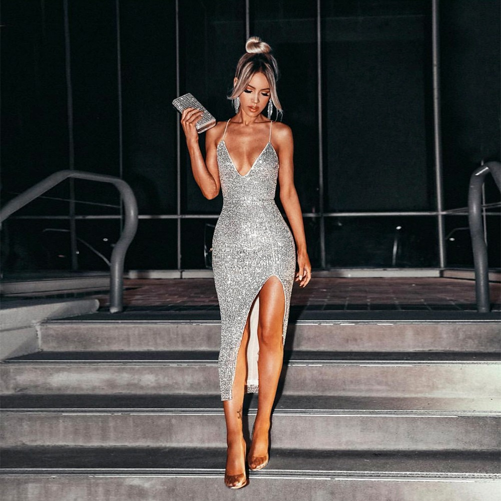 Silver Slit Sequined Over Knee Sleeveless Strappy Bodycon Dress HL8075-Silver