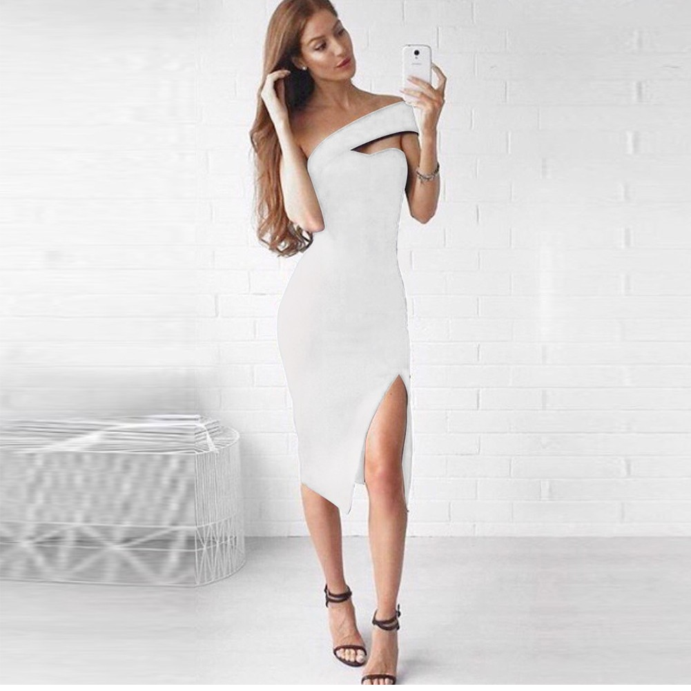 White One Shoulder Sleeveless Over Knee Off Shoulder Side Out High Quality Bandage Dress HQ224-White