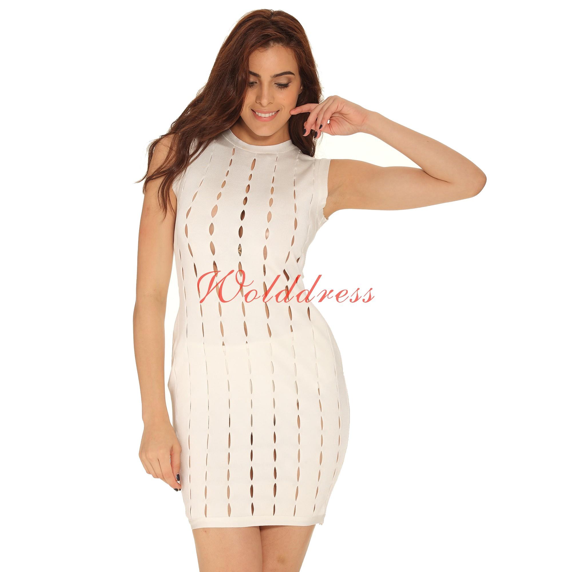 Fashion Round Neck Sleeveless Mini White Hallow Out Bandage Dress Ht0065-White