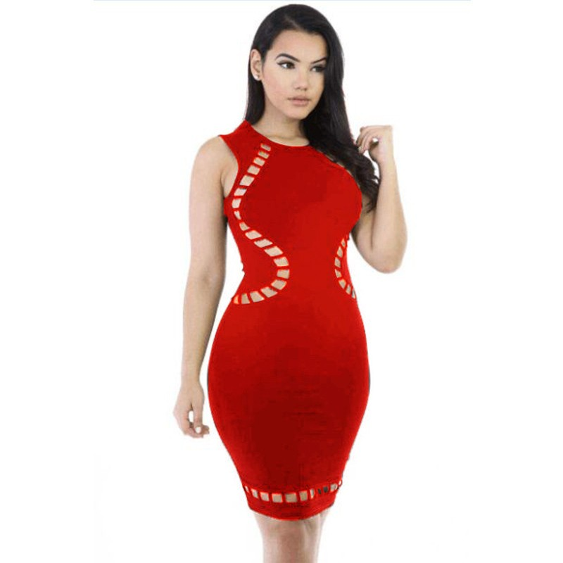 Party Round Neck Sleeveless Mini Red Cut Out Bandage Dress HT0071-Red HT0071-Red