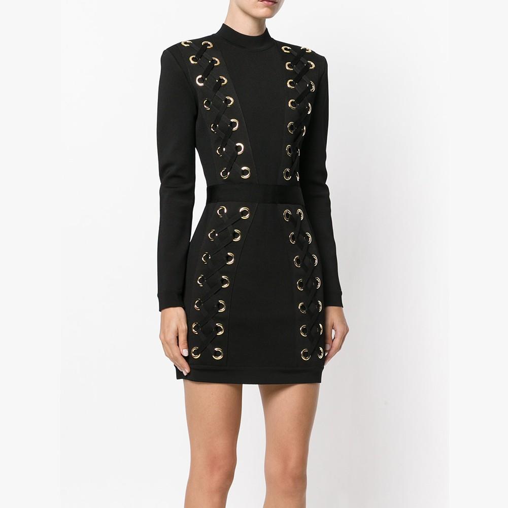 Black Round Neck Long Sleeve Mini Metal Studded Cross Fashion Bandage Dress HT0254-Black